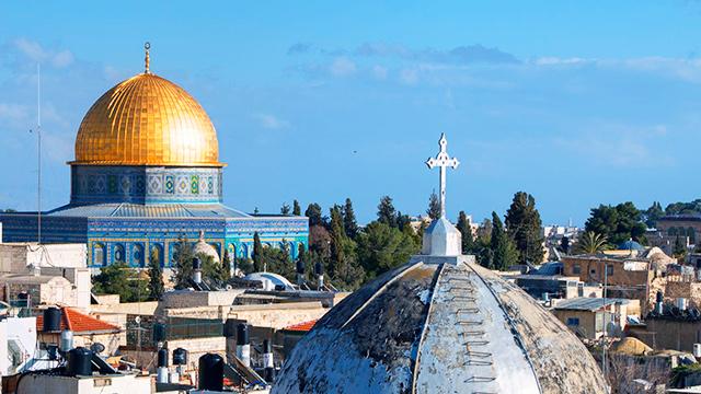 Felsendom und christliche Basilika in Jerusalem
