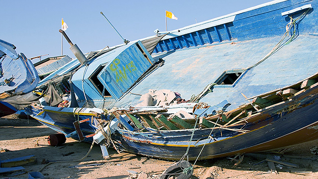 Schiff in Lampedusa