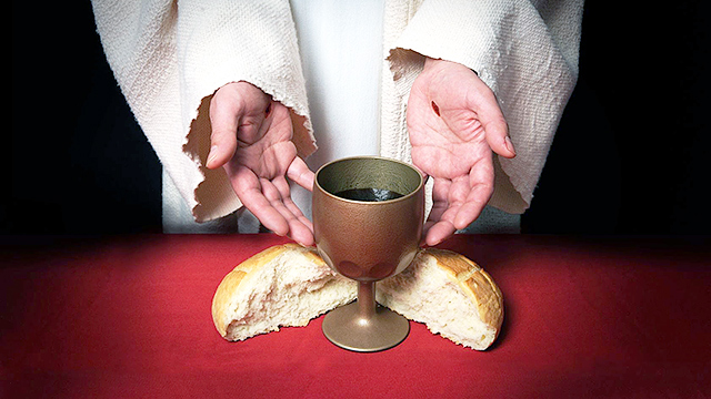 Jesus mit Brot und Wein