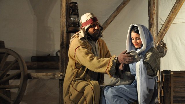 Josef mit Maria und Jesus