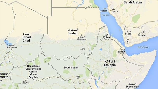 Karte mit Sudan und Südsudan