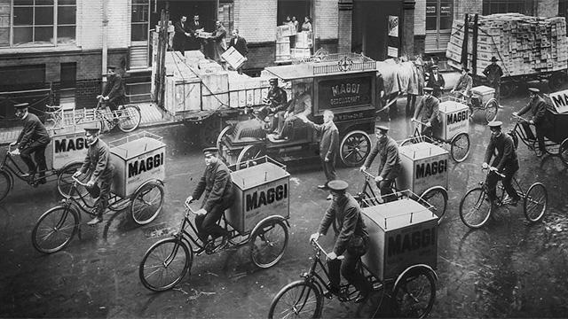 Auslieferung von Maggi per Fahrrad