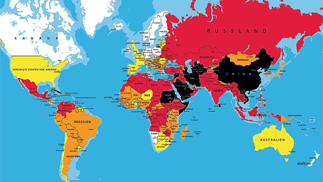Weltkarte zur Pressefreiheit