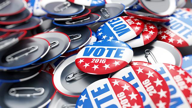 Wahl-Buttons der US-Wahlen 2016 (c) 123rf