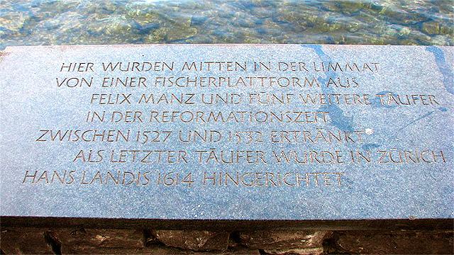 Täufer-Gedenktafel in Zürich