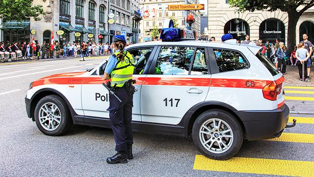 Polizei in der Innenstadt von Zürich